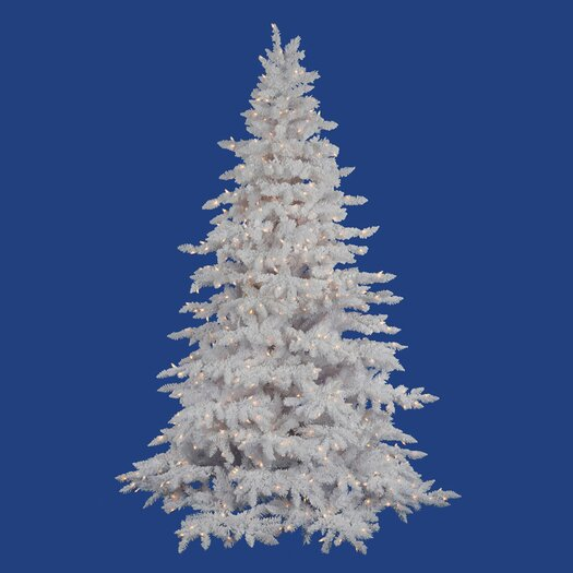 Vickerman Co. Flocked White Spruce 7.5' Artificial Christmas Tree with 850 Clear Lights with Stand