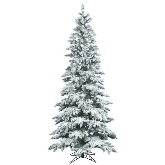Vickerman Flocked Utica Fir 6.5' White Artificial Christmas Tree with Stand