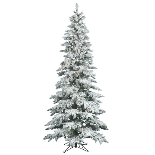 Vickerman Co. Flocked Utica Fir 10' White Artificial Christmas Tree with 700 Clear Lights with Stand