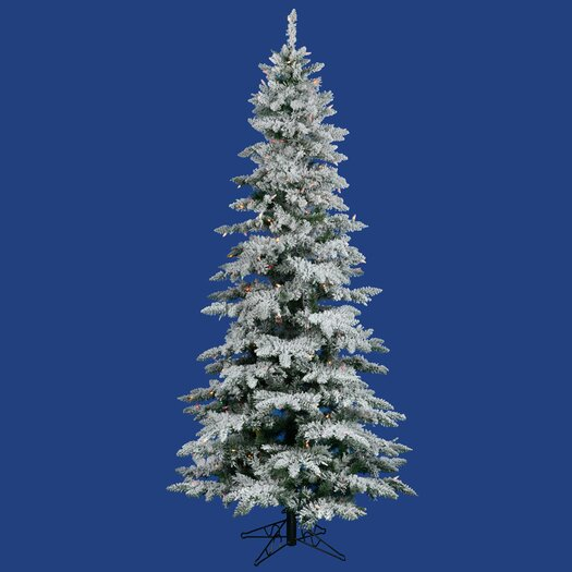 Vickerman Co. Flocked Utica Fir 6.5' White Artificial Christmas Tree with 300 Multicolored Lights with Stand