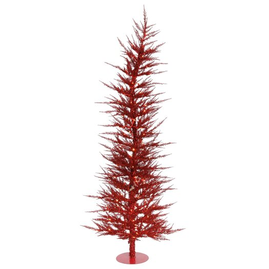 Vickerman Co. Colorful Laser 4' Red Artificial Christmas Tree with 70 Lights