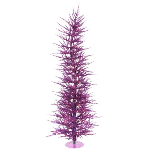 Vickerman Co. Purple Wreath and Garland 5' Purple Artificial Christmas Tree with 100 Purple Lights