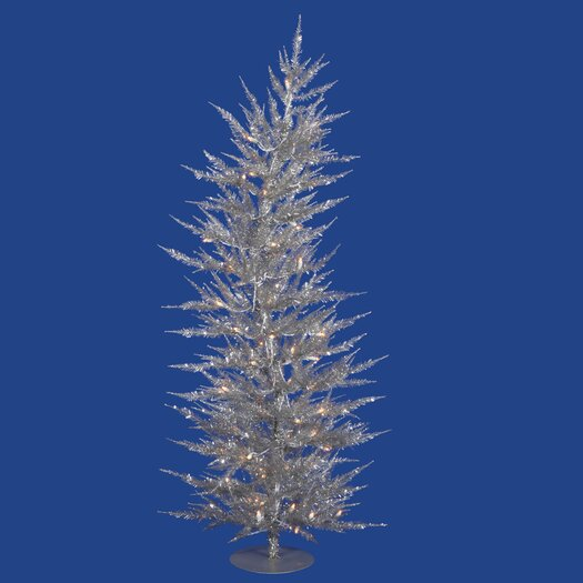 Vickerman Co. Colorful Laser 4' Silver Artificial Christmas Tree with 70 Clear Lights