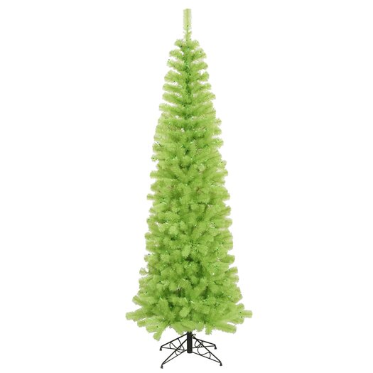 Vickerman Chartreuse Pencil 9' Green Artificial Christmas Tree with 550 Green Lights