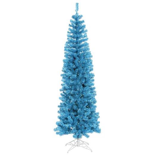Vickerman Pencil 9' Sky Blue Artificial Christmas Tree with 550 Sky Blue Lights