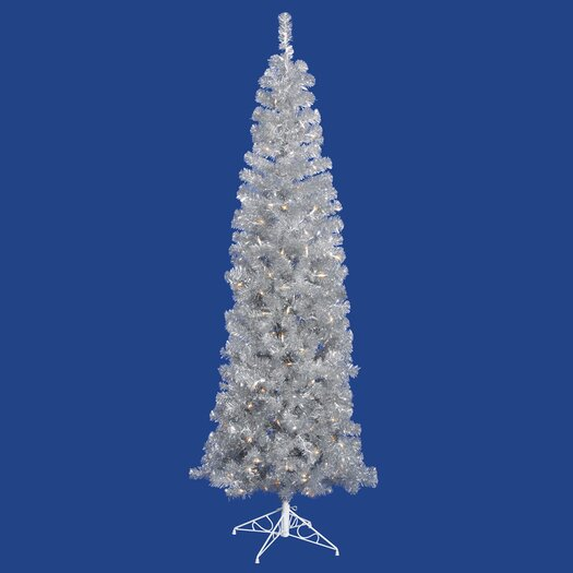 Vickerman 9' Silver Artificial Pencil Christmas Tree with 550 Clear Mini Lights