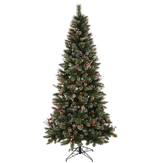 Vickerman Co. 4.5' Green Snowtip Berry/Vine Artificial Christmas Tree with 150 Multicolored Mini Lights with Stand