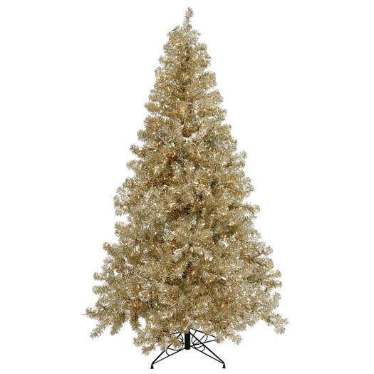 Vickerman Co. Champagne 6' Artificial Christmas Tree with 350 Clear Mini Lights with Stand