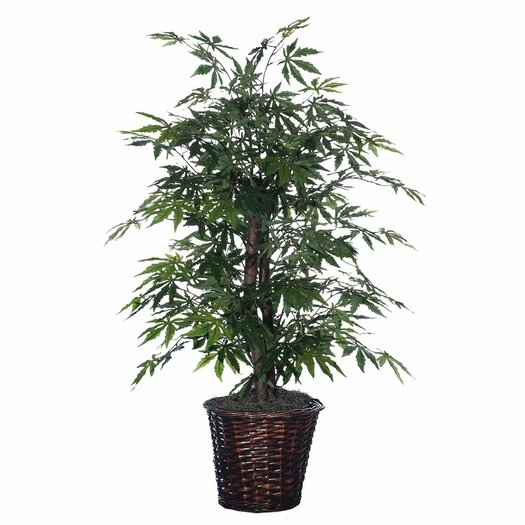 Vickerman Co. Blue Wreath and Garland Japanese Bush Floor Plant in Pot