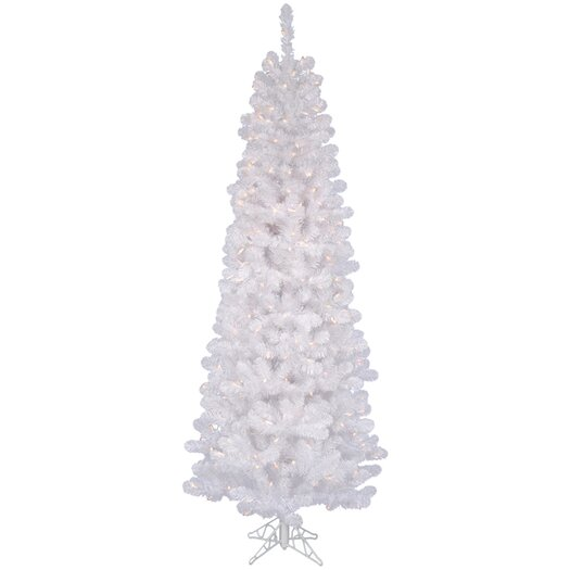 Vickerman White Salem Pencil Pine 7.5' Artificial Christmas Tree with 350 Clear Lights with Stand