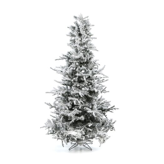 Vickerman Co. Flocked Sierra Fir 7.5' White Artificial Christmas Tree with 750 Clear Lights with Stand