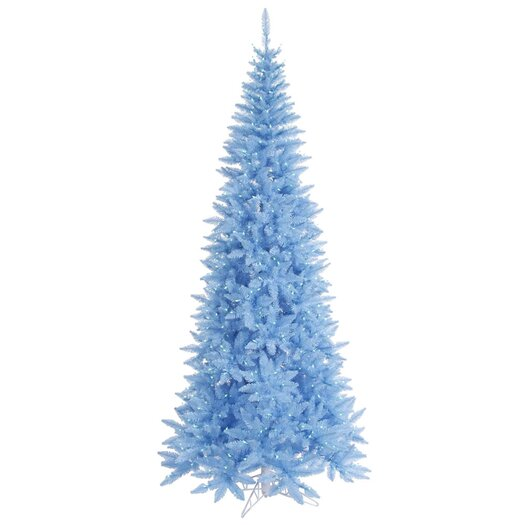 Vickerman Co. 4.5' Sky Blue Slim Fir Artificial Christmas Tree with 200 Mini Lights