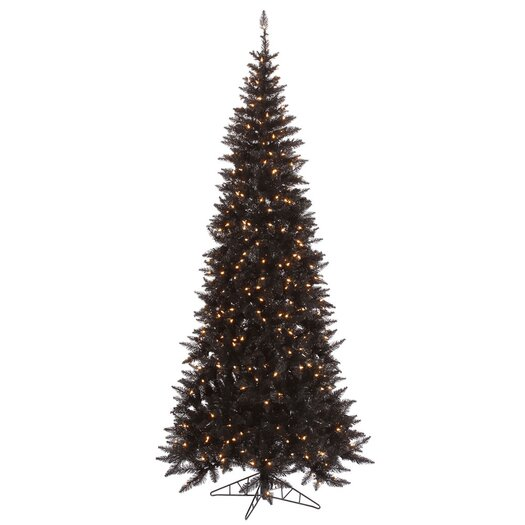 Vickerman Co. 7.5' Black Slim Fir Artificial Christmas Tree with 500 Mini Clear Lights