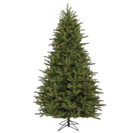 Vickerman Co. Majestic 7' Green Frasier Artificial Christmas Tree with 950 Dura-Lit Multi Lights with Stand