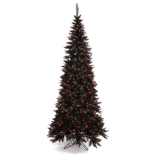 Vickerman Co. 7.5' Black Slim Fir Artificial Christmas Tree with 500 Mini Orange Lights