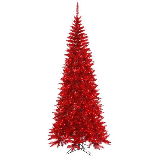 Vickerman Co. 7.5' Tinsel Red Slim Artificial Christmas Tree with 500 Mini Lights