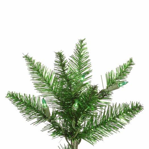 Vickerman Co. 6.5' Tinsel Green Slim Fir Artificial Christmas Tree with 400 Mini Lights