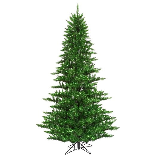 Vickerman Co. 6.5' Tinsel Green Fir Artificial Christmas Tree with 600 Mini Clear Lights
