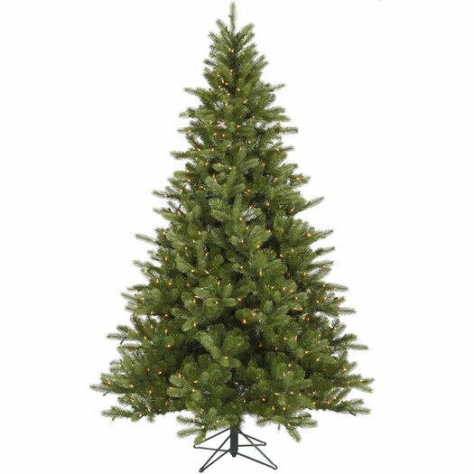 Vickerman King 7.5' Green Spruce Artificial Christmas Tree with 700 Dura-Lit Clear Lights with Stand