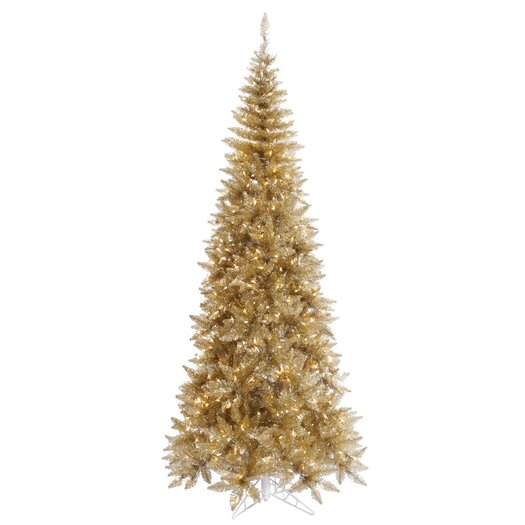 Vickerman Co. 5.5' Champagne Slim Fir Artificial Christmas Tree with 300 Mini Clear Lights
