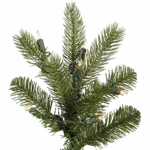 Vickerman Co. King 7.5' Green Spruce Artificial Christmas Tree with 700 Dura-Lit Clear Lights with Stand