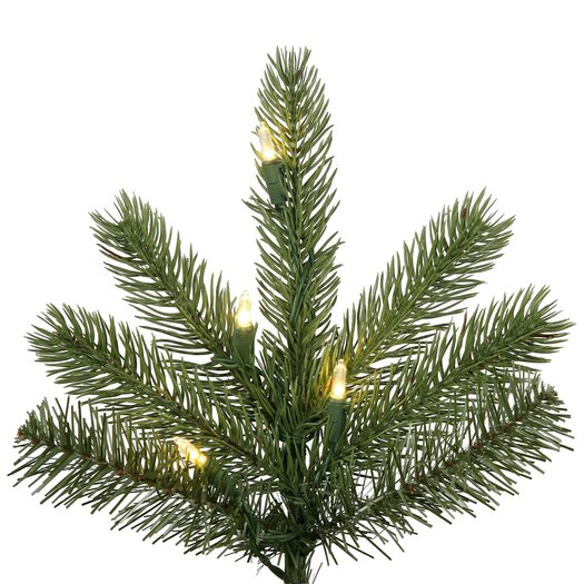 Vickerman Co. 7.5' Green Kennedy Fir Slim Artificial Christmas Tree with 500 LED White Lights with Stand