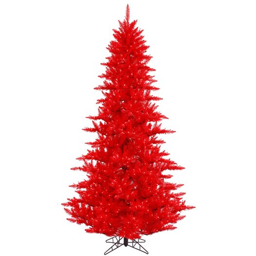 Vickerman 7.5' Red Fir Artificial Christmas Tree with 750 Mini White Lights