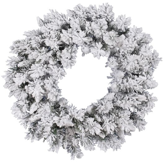 Vickerman Flocked Snow Ridge Wreath with 160 Tips