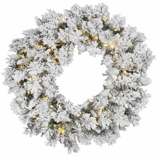 Vickerman Flocked Snow Ridge Sprays Wreath with 100 LED Lights