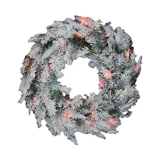 Vickerman Co. Prelit Flocked Alaskan Wreath