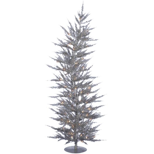 Vickerman Co. Colorful Laser 5' Silver Artificial Christmas Tree with 100 Clear Lights