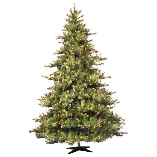 Vickerman Mixed Country Pine 7.5' Green Artificial Christmas Tree with 800 Clear Lights with Stand