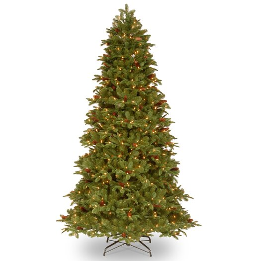 National Tree Co. Oakridge 7.5' Medium Green Artificial Christmas Tree with 650 Pre-Lit Clear Lights with Stand