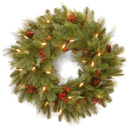 """National Tree Co. Noelle 24"""" Pre-Lit Wreath"""