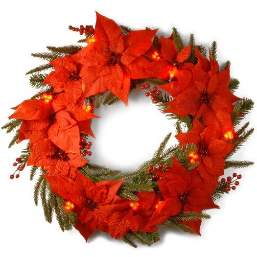 National Tree Co. Pre-Lit Poinsettia Wreath