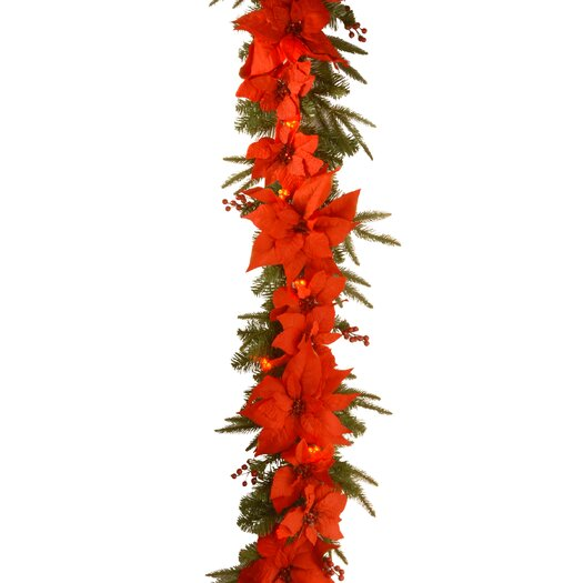 National Tree Co. Pre-Lit Poinsettia Garland