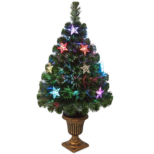"National Tree Co. Fiber Optics Evergreen 3"" Green Fireworks Artificial Christmas Tree with Multicolor LED Lights with Urn Base"