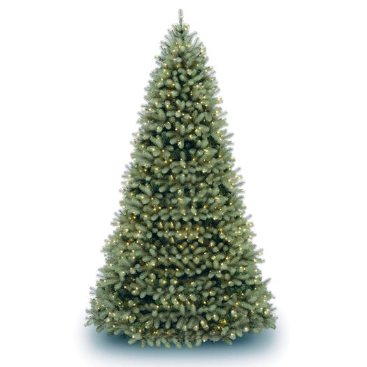"""National Tree Co. Downswept Douglas Fir 10"""" Green Artificial Christmas Tree with Clear Lights with Stand"""