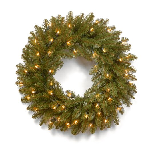 "National Tree Co. 24"" Dunhill Pre-Lit Fir Wreath with 50 Clear Lights"