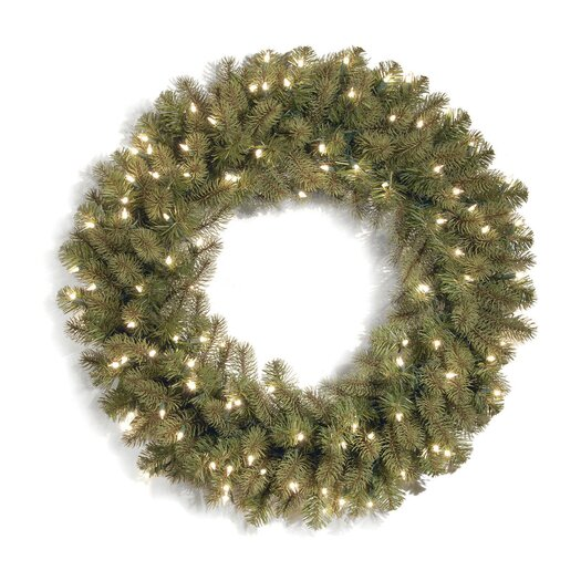 National Tree Co. Downswept Douglas Wreath with 50 Clear Lights
