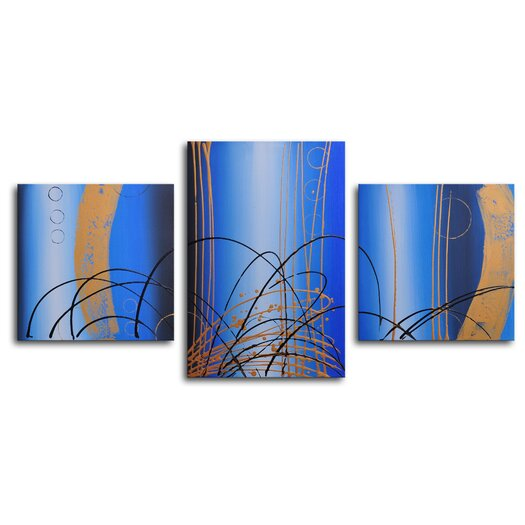 My Art Outlet Bubbling Up 3 Piece Painting Print on Wrapped Canvas Set
