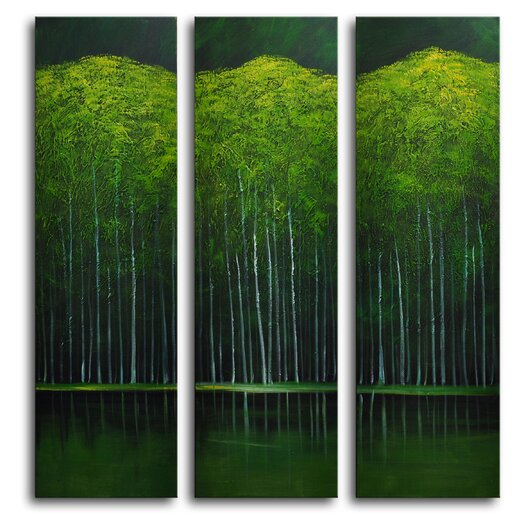 My Art Outlet Aspens on Evening Lake 3 Piece Original Painting Wrapped Canvas Art Set