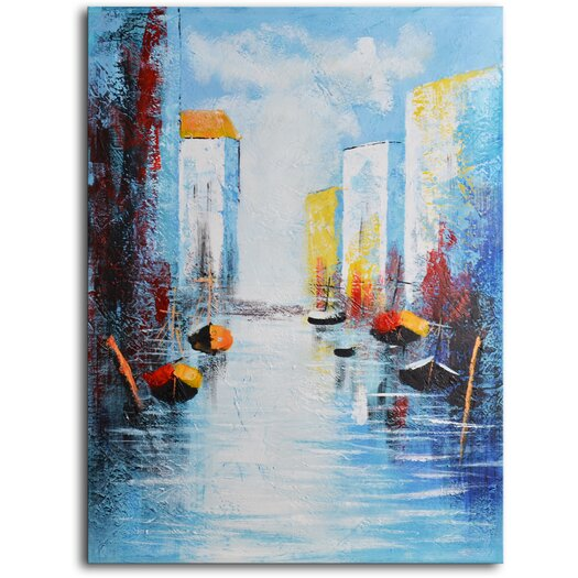 My Art Outlet Sail Boats and Silos Original Painting on Wrapped Canvas