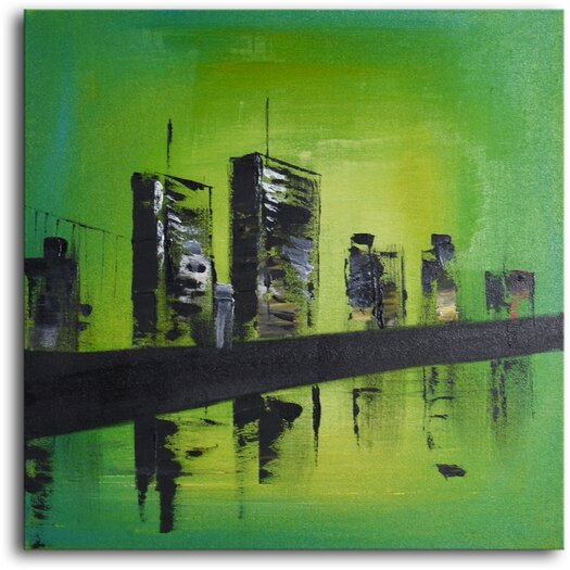 My Art Outlet Twin Towers Original Painting on Wrapped Canvas
