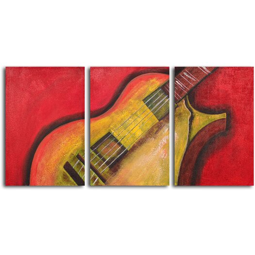 My Art Outlet Rouged Six String Guitar 3 Piece Original Painting on Wrapped Canvas Set