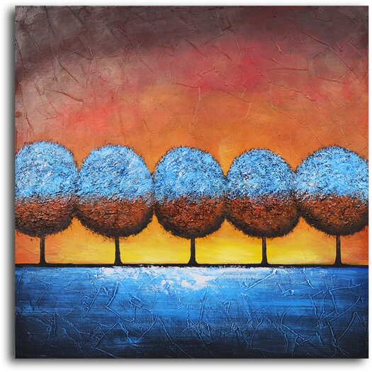 My Art Outlet Azure Frosted Trees Original Painting on Wrapped Canvas