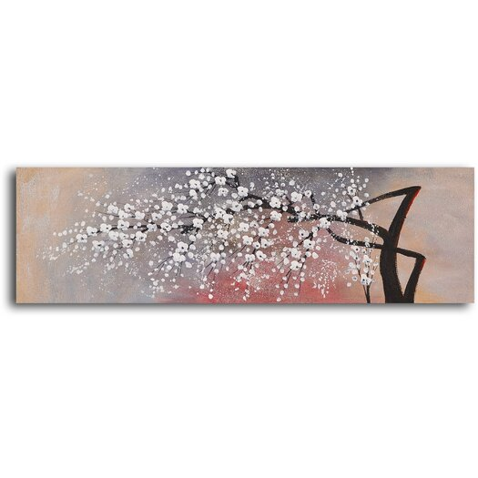 My Art Outlet Cotton Ball Blossom Original Painting on Wrapped Canvas
