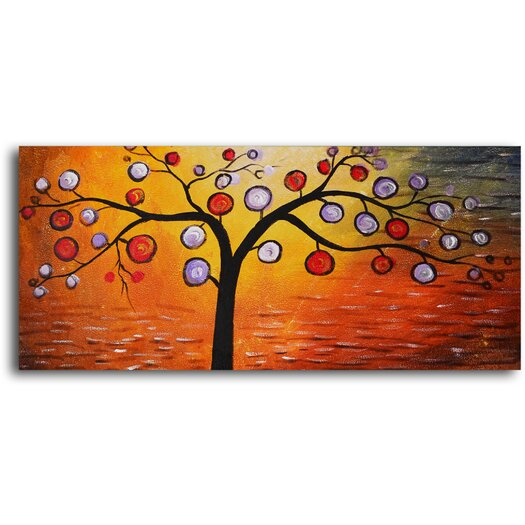 My Art Outlet Lolly Pop Tree Original Painting on Wrapped Canvas