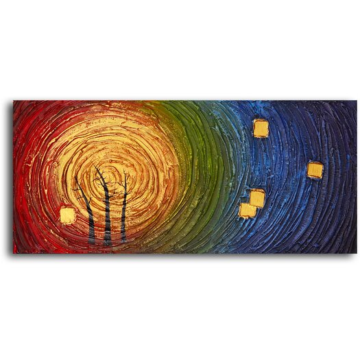 My Art Outlet Trees in Concentric Colors Original Painting on Wrapped Canvas