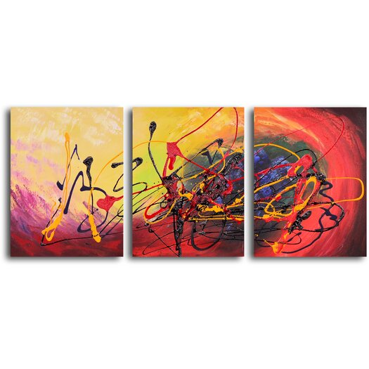 My Art Outlet Picture of Confusion 3 Piece Original Painting on Wrapped Canvas Set
